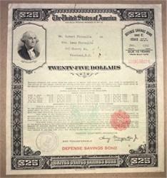 United States $25 Dollar Defense Savings Bond (Large Size)  - World War II -  1942
