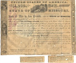 State of Missouri Bond signed by Missouri Governor Sterling Price (Later a Confederate General)  - Missouri 1853