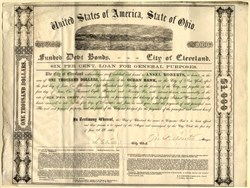 City of Cleveland Funded Debt Bond handsigned by Mayor (George Senter)and issued during Civil War - Ohio, 1864