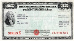 United States Savings Bond $25 Series E - 1945