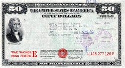 United States of America $50 WWII Savings Bond Series E - 1945