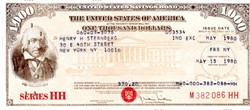 United States Savings $1000 Series HH Bond (Uncancelled ) Now obsolete punch card format  - United States 1980