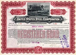 United States Steel Corporation $100,000 Bond issued to Andrew Carnegie - 1901