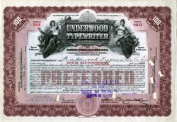 Underwood Typewriter Company signed by Founder John T. Underwood, as President - 1920