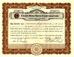 Union Wire Rope Corporation - Delaware 1928