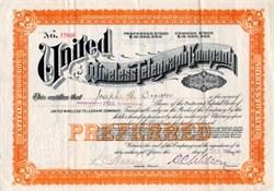 United Wireless Telegraph Company 1908 - Early Wireless Radio Company Fraud