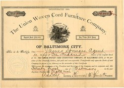 Union Woven Cord Furniture Company - Balitmore City, Maryland 1889