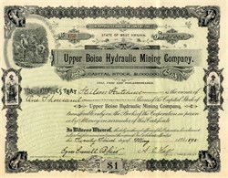 Upper Boise Hydraulic Mining Company (Issued to Stilson Hutchins - Washington Post Founder) signed by Ezra Cornell Blair  - 1898