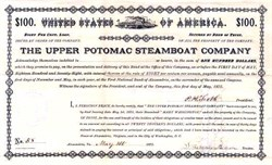 Upper Potomac Steamboat Company - City of Washington DC - 1875