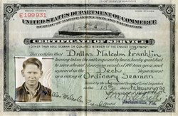 US Department of Commerce (Certificate of Service for Seaman) - 1940 WWII