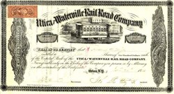 Utica and Waterville Rail Road Company  signed by John Butterfield as President 1866