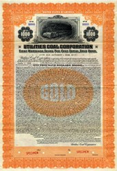 Utilities Coal Corporation ( $1000 Gold Bond) - 1923