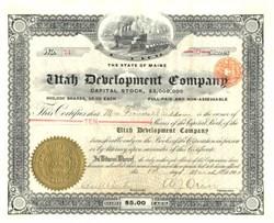 Utah Development Company - Maine 1905 signed by A. J. Orem  ( Orem, Utah namesake )