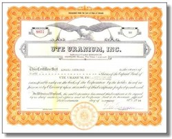 Ute Uranium, Inc 1954 signed by Mayor of Cripple Creek