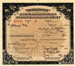 U.S. Treasury Department Prescription for Whiskey during Roaring 20's Prohibition -  1926