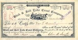Utah & Salt Lake Canal Company signed by Elias A. Smith - Utah 1891