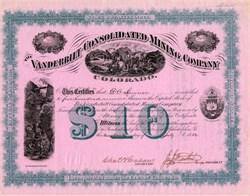 Vanderbilt Consolidated Mining Company -  Colorado 1882