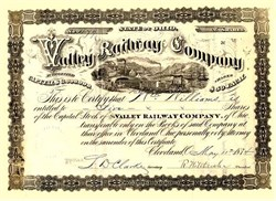Valley Railway Company  (Became Baltimore & Ohio Railroad ) - Cleveland, Ohio 1880