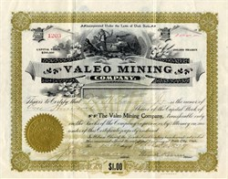 Valeo Mining Company signed by Senator Thomas Kearns  - Wasatch County, Park City, Utah 1899