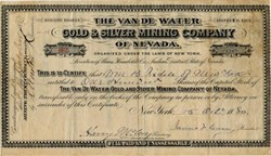 Van De Water Gold & Silver Mining Company of Nevada - Humboldt County, Indian District, Nevada -1880