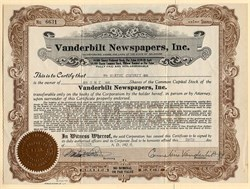 Vanderbilt Newspapers, Inc. signed by Cornelius Vanderbilt Jr - 1924