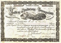 Valley Railway Company signed by Founder of Western Union Telegraph 1889 - Cleveland, Ohio