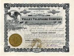Valley Telephone Company - Vale, Oregon 1908
