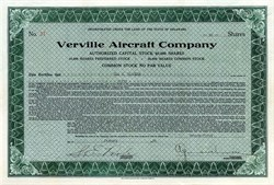 Verville Aircraft Company signed by Alfred V. Verville - Delaware 1930