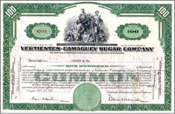 Vertientes - Camaguey Sugar Company of Cuba Stock Certificate ( Nationalized by Castro in 1959)