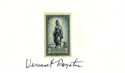 "Vermont Royster (Wall Street Journal Editor)  autograph on a 3"" x 5"" card on U. S. Postage 3 Cent stamp"