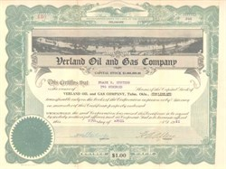 Verland Oil & Gas Company 1921 issued to Frank H. Gunther of Gunther Beer Company