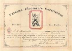 Veteran Fireman's Certificate - 1894 Lyons City, Iowa