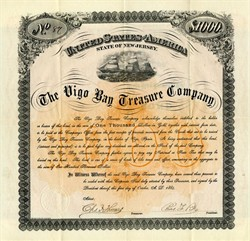 Vigo Bay Treasure Company - RARE $1000 Gold Bond 1884