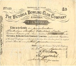 Victoria Bowling Club Company - England 1876