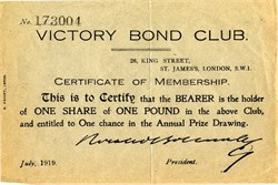 Victory Bond Club ( Horatio Bottomley Scam) - London 1919