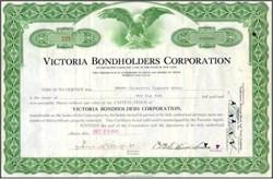 Victoria Bondholders Corporation Stock Certificate 1943 - 1944