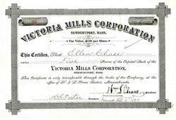 Victoria Mills Corporation 1895 - Newberryport, Massachusettes