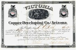 Victoria Copper Developing Co. of Arizona - Pinal. Pioneer. Arizona - 1882