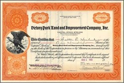 Victory Park Land and Improvement Company 1925 - New York