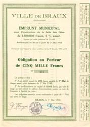 Ville De Braux Emprunt Municipal  - France 1948