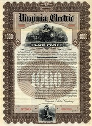 Virginia Electric Company Gold Bond (became Norfolk and Ocean View Railway Company)  - 1898