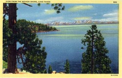 View From the Nevada Shore, Lake Tahoe Postcard
