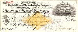 Virginia Fire and Marine Insurance Company ( 2 Cent Imprinted Revenue Stamp)  - 1880