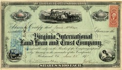 Virginia International Land Loan and Trust Company - Virginia 1871