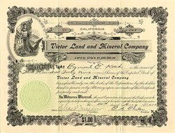 Victor Land and Mineral Company - California 1914