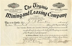 Virginia Mining and Leasing Company - Colorado 1899