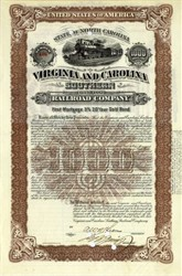 Virginia & Carolina Southern Railroad Company - Gold Bond -  North Carolina - 1913