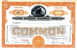 Victor Talking Machine Company (RARE specimen stock certificate) vignette of Nipper the Dog - 1927