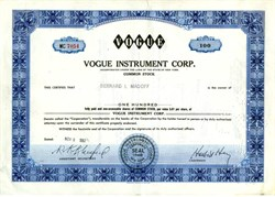 Vogue Instrument Company issued to and signed by Bernard L Madoff -  RARE 1967