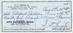 Vincent Leonard Price (Horror Movie Actor) signed check - 1973
